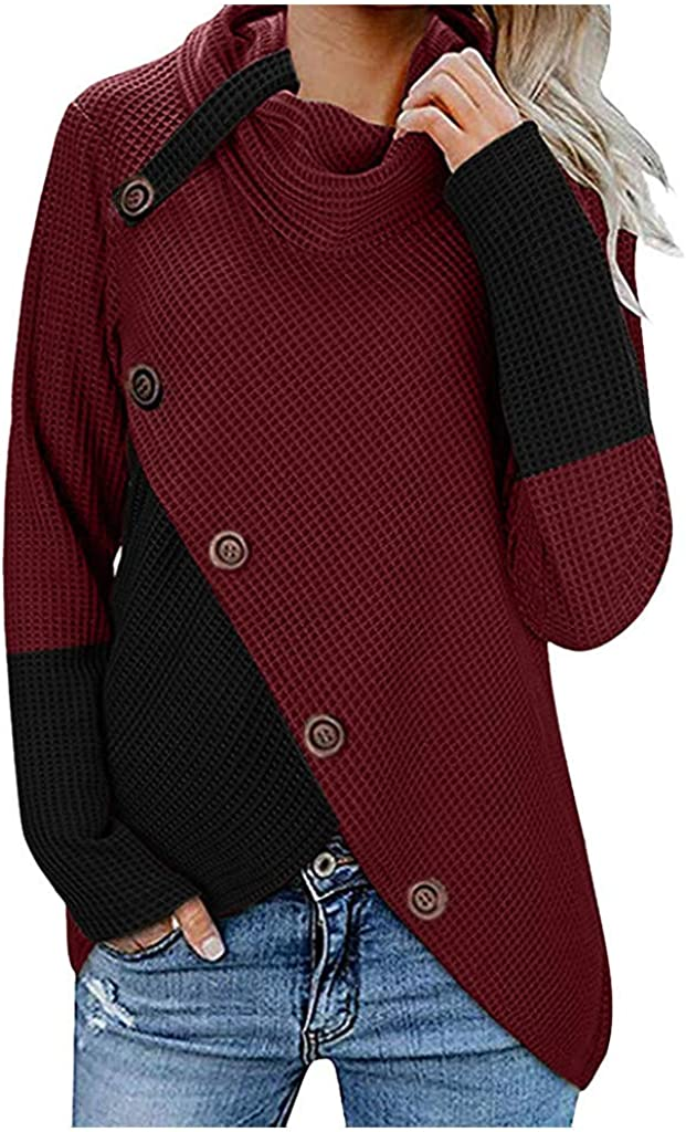 Chunky Waffle Knit Turtleneck Sweater for Leggings Women NRUTUP Wrap Button Pullover Irregular Hem Long Sleeve Tops