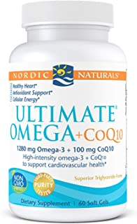 Nordic Naturals Ultimate Omega + CoQ10, Lemon - 120 Soft Gels - 1280 mg Omega-3 + 100 mg CoQ10 - Heart Health, Cellular En...