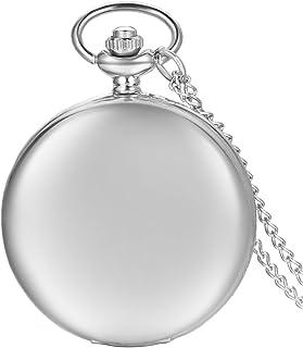 JewelryWe Pendentif Collier Montre de Poche Gousset Ronde Poli Quartz Chiffre Simple Lisse Couverture Chic Alliage Couleur...