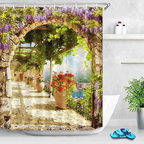 Fleur et maison rue Gongshi rue numérique paysage rideau de douche baignoire décoration salle de bain rideau décoration de la maison imperméable et anti-moisissure rideau de douche A4 180x200 cm