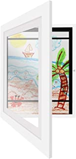 Americanflat White Kids Artwork Picture Frame with Shatter-Resistant Glass - Display Artworks Sized 8.5x11 with Mat and 10x12.5 Without Mat