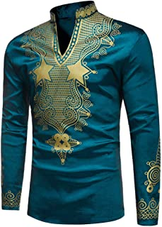 F_Gotal Mens Dashiki African Tribal Clothing Printed Long Henley Shirt Traditional Ethnic Slim Fit Plus Size Tops Blouse