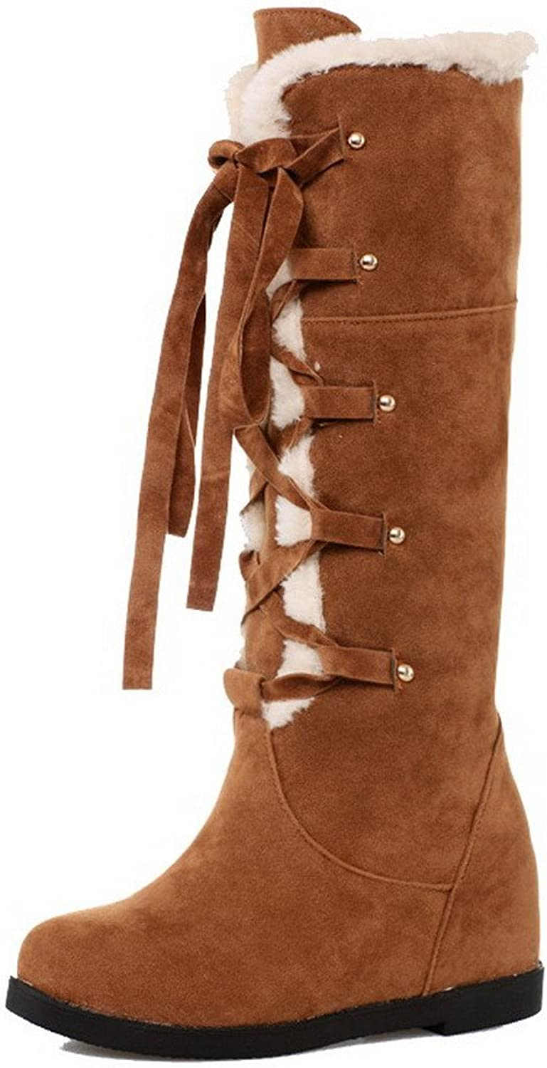 WeenFashion Women's Kitten-Heels Frosted Mid-Top Solid Lace-up Snow-Boots