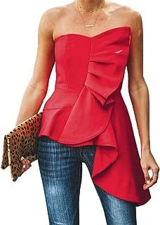 Valphsio Womens Ruffle Party Blouse Strapless Asymmetrical Peplum Statement Top Shirts