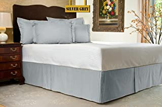 """Zoom Collection Hotel Beddings 850-Thread-Count 100% Egyptian Cotton 1 Piece Bed Skirt with 24"""" Drop Length Twin Size Dama..."""