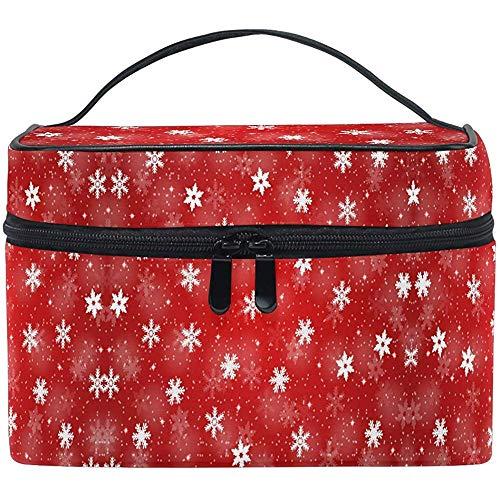 Rouge Noël Motif Maquillage Sac Hiver Flocons De Neige Sac Cosmétique Portable Zip Brosse Sac Organisateur De Stockage