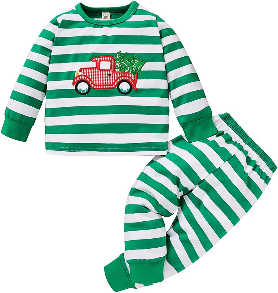 Toddler Baby Boys Clothes Stripe Christmas Outfit Set