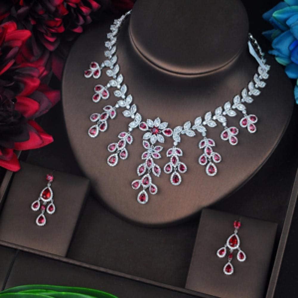 WJCRYPD Necklace Set Fashion Design Cubic Zircon Jewelry Set for Women Bridal Bijoux Parures Femmes Engagement Set Jewelry Set SurongL (Color : Red)