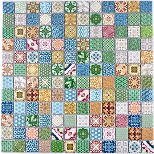 Piastrelle colorate a mosaico, effetto spagnolo, retrò, vintage, in ceramica, MOS18D-1616_f   10 tappetini per mosaico