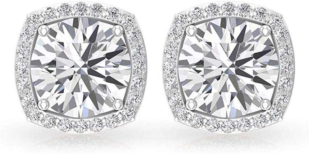 6 MM Round Moissanite Solitaire Earrings, 1.75 CT D-VSSI Moissanite Halo Earrings, Gold Stud Earrings, Screw Back
