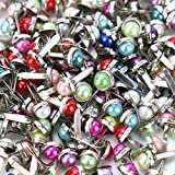 WSSROGY 6MM 200pcs Mixed Colors Pearl Brads Wedding Paper Fasteners Brads Round Brad Craft Scrapbooking Card