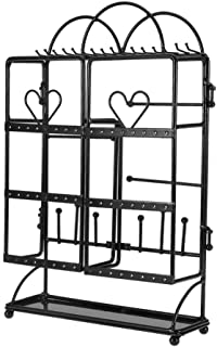 yuyte Large Capacity Jewelry Tree Stand and Necklace Holder, Bracelet & Necklace Jewelry Display Organizer for Earrings, Bracelets, Rings and Watches (Black)