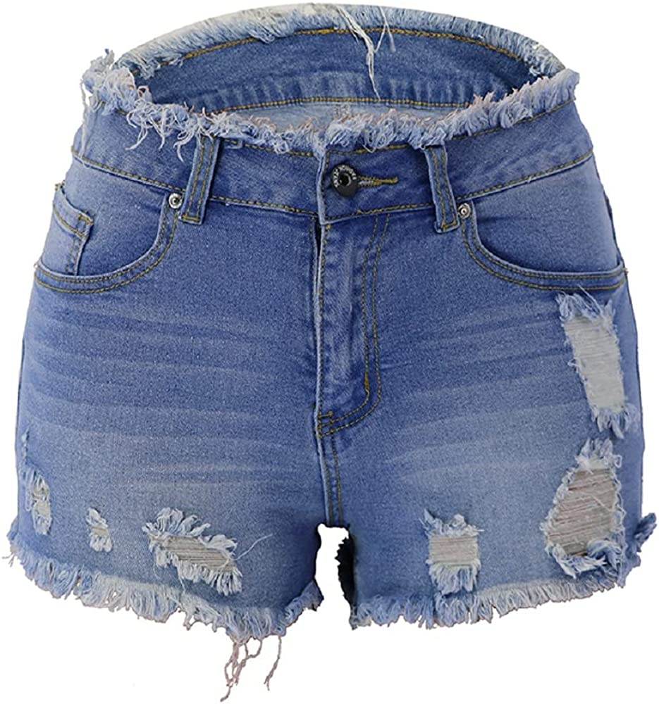 Meren Women's Mid Waist Jean Shorts Ripped Raw Cut Hem Denim Shorts Distressed Stretchy Denim Jean Shorts