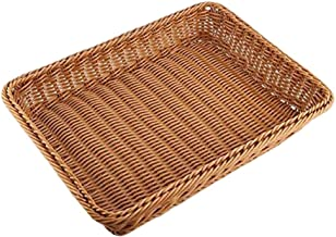 SWZJJ Wicker Storage Basket, Bread Basket Bread Shop Supermarket Display Basket Woven Tabletop Food Fruit Vegetables Resta...