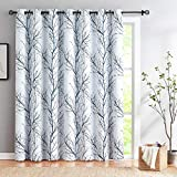Blue-White Sliding Door Blackout Curtain 100x84 Tree Branch Print Extra Wide Window Curtains for Patio Door Room Divider Thermal Insulated Drapes 1Panel Grommet Top