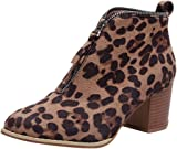 Bringbring Womens Shoes Fashion Ankle Solid Leopard Zipper Martin Boots