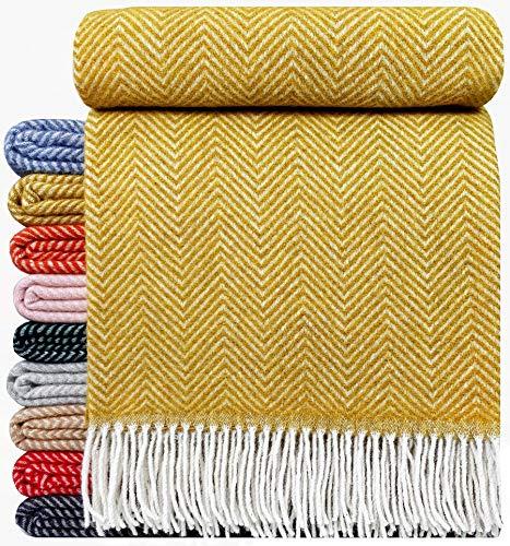 STTS International Wohndecke Wolldecke Decke sehr weiches Plaid Kuscheldecke 140 x 200 cm Wolle Milano/Verona (Gelb-Senf)