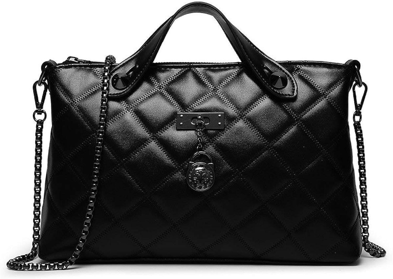 Eeayyygch Handtasche Frühling Und Sommer Europa Mode Lingge Handtaschen Große Kapazität Damen Leder Schulter Umhängetasche, Schwarz-OneGröße B07KFZMG4L