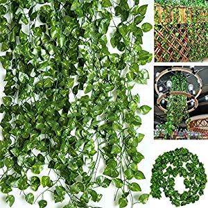 BJH 170 Ft-24 Pack Artificial Ivy Leaf Garland Plants Vine Hanging Wedding Garland Fake Foliage Flowers Home Kitchen Garden Office Wedding Wall Décor