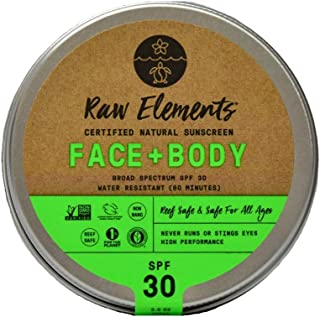 Raw Elements Face and Body Certified Natural Sunscreen   Non-Nano Zinc Oxide, 95% Organic, Water Resistant, Reef Safe, Cruelty Free, SPF 30+, All Ages Safe, Moisturizing, Reusable Tin, 3oz