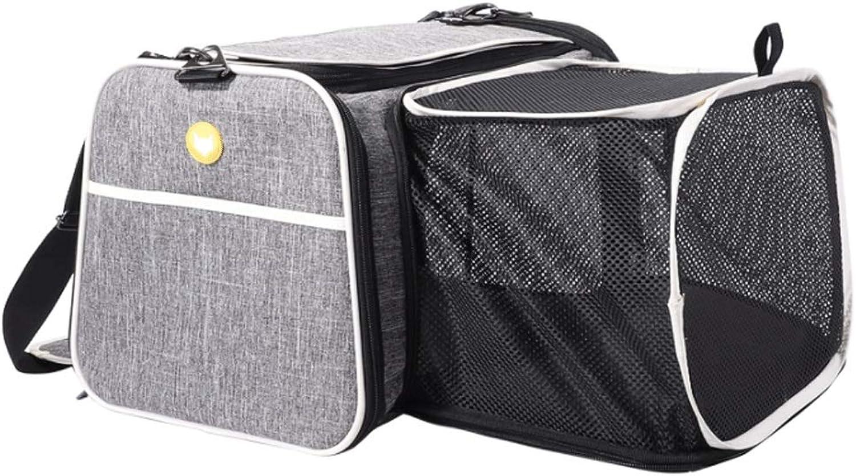 HAOCAI Pet Bag Portable Breathable Large Capacity Unilateral Unfolding Car Backpack Grey Cat And Dog Universal Shoulder Bag Builtin Hook (Size   46x29x29cm)