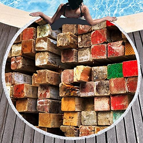 Toalla de Playa de impresión Digital 3D Bloque De Madera Cuadrado Forma RedondaToalla de baño de Refrescante Microfibra 150*150cm absorbentes Ligeras y de máxima suavidad