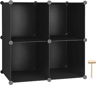 C&AHOME Cube Storage, 4-Cube Organizer Units, Plastic Closet Storage Shelves, DIY Book Shelf, Modular Bookcase, Ideal for Bedroom, Living Room, Office, 24.8