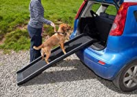 """Strong and durable plastic folding lightweight Dog Ramp Can carry up to 90kgs ( 200 lbs) Unfolded: 156cm x 40cm x 10cm 61"""" x 16"""" x 4"""" Folded: 78cm x 40cm x 20cm 31"""" x 16"""" x 8"""" Product Weight: 4.5kgs ( 10 lbs)"""