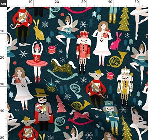 Nussknacker, Musik, Ballett, Weihnachten, Ballerina, Weihnachtsstoff, Andrea Stoffe - Individuell Bedruckt von Spoonflower - Design von Andrea Lauren Gedruckt auf Bio Baumwollsatin
