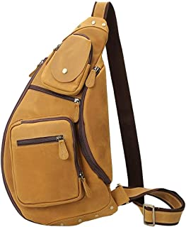 AMAZACER Men Vintage Leather Crossbody Sling Shoulder Bag Chest Pack Sports Handbag with (Color : Brown)