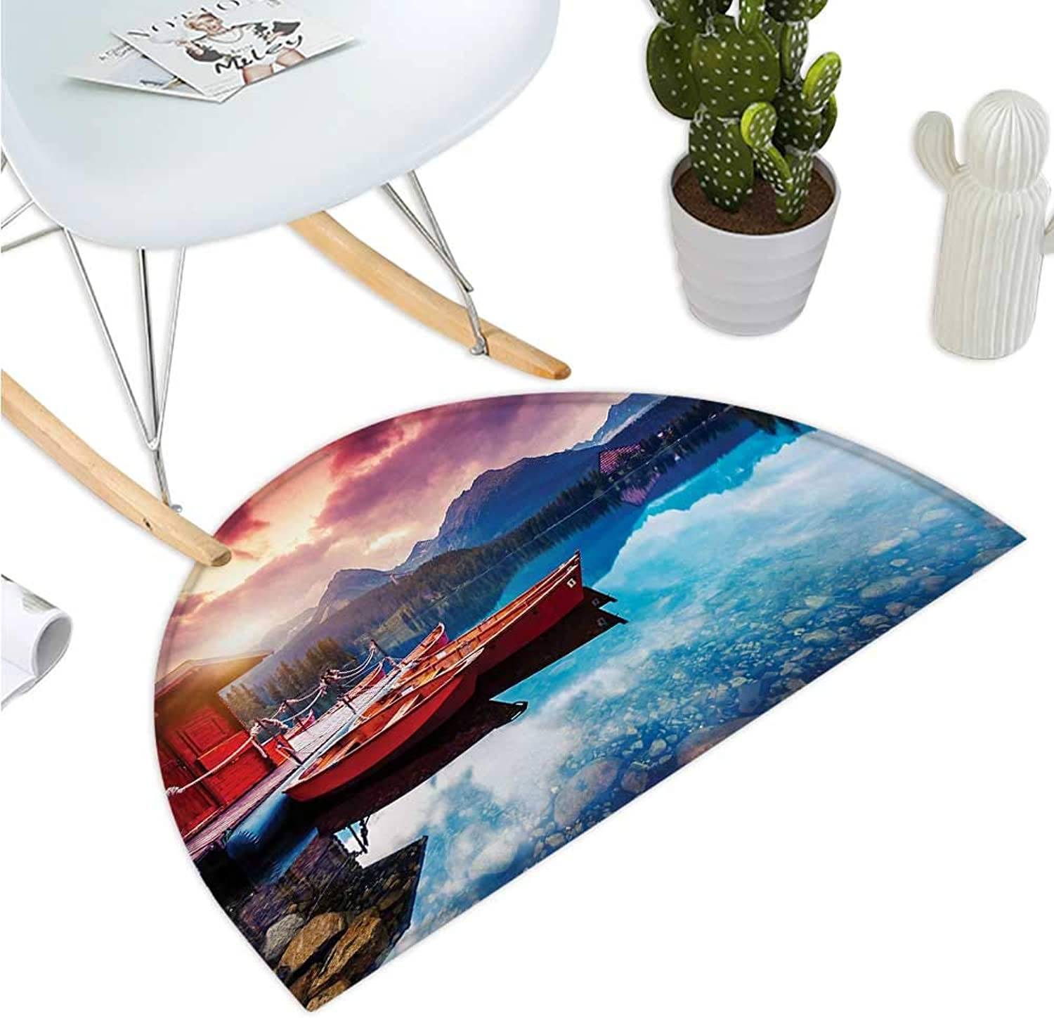 Landscape Half Round Door mats Peaceful Mountain Lake with Majestic Sky and Mountains South Asia Romantic View Bathroom Mat H 39.3  xD 59  Multicolor