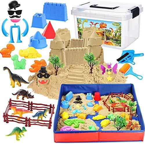 Tacobear Arena Mágica Arena Cinética Jugar Arena Juegos con 3lbs Play Sand Plegable Areneros Figuras de Dinosaurio Moldes de Arena Playa Juguetes de Arena DIY Juguete de Interior para Niños