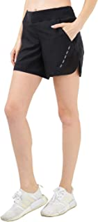 MIER Women's 5 Inches Running Shorts Quick Dry Workout Shorts with Liner, 4 Pockets, Water Resistant, Lightweight, Black
