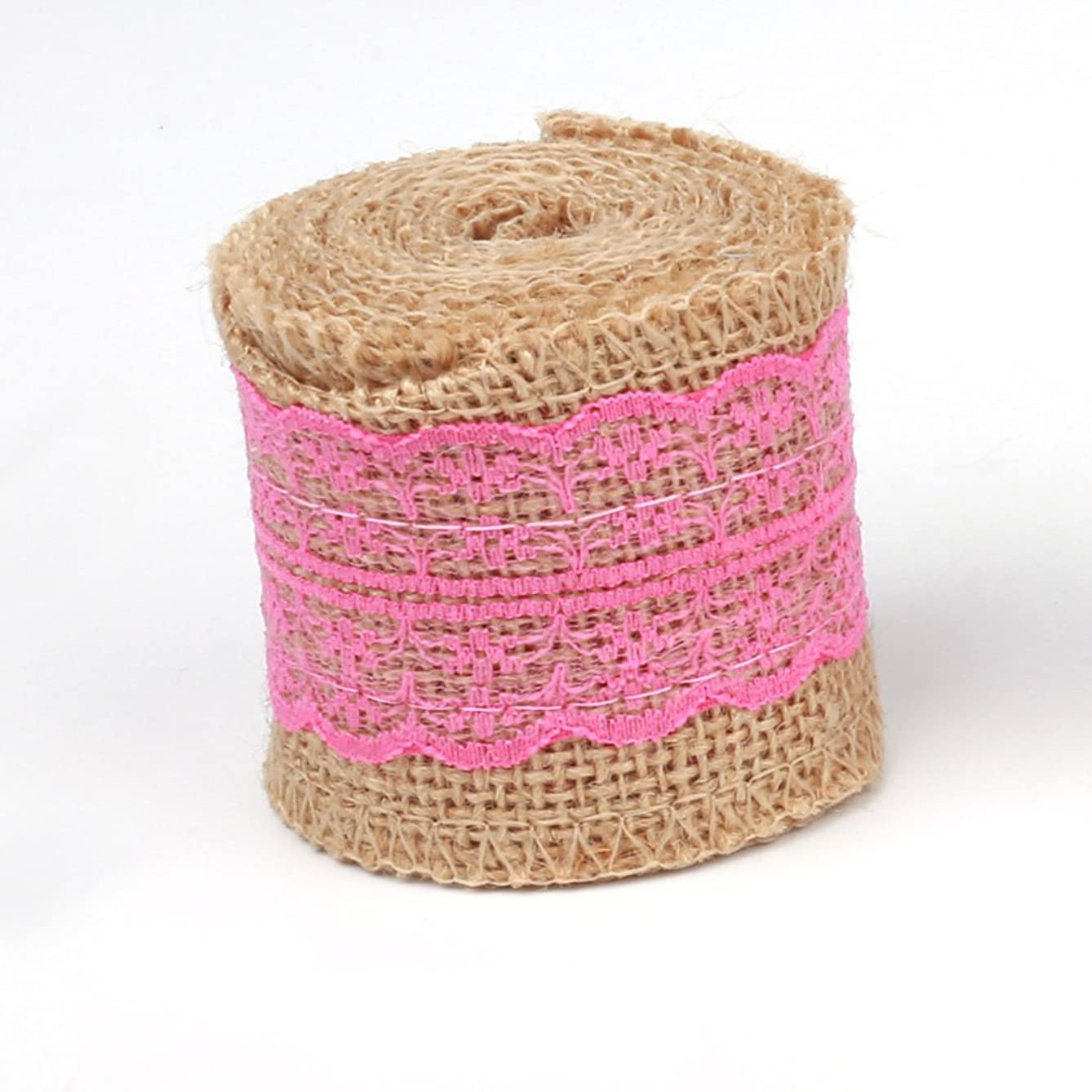 Z-COLOR 2M DIY Cotton Lace Ribbon Sewing Tape Natural Jute Roll Multifunctional Burlap Trims Tape Rustic Wedding Party Decor Craft Tool (Pink)