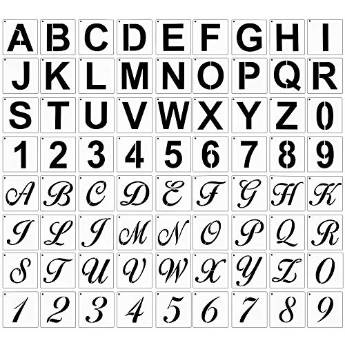 72 Pieces Reusable Letter Number Stencils Plastic Alphabet Painting Stencils Number Stencils Template for Painting on Wood DIY Home Decor Art Projects (3 x 3 Inch)