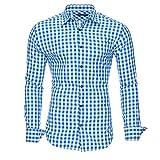 Kayhan Hombre Camisa Slim fit, Oktoberfest Blue S