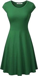 Women's Casual Elegant A Line Short Cap Sleeve Round Neck Dress
