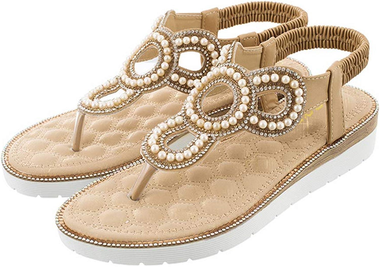 Mobnau Flat Jeweled Casual Fashion Thong Women Sandals
