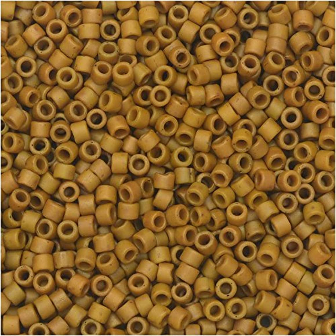 Miyuki Delica Seed Beads, 11/0 Size, 7.2 Gram Tube, 2286 Frosted Opaque Glazed Pecan Yellow