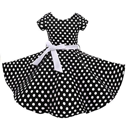 HBBMagic HBBMagic Kurzarm Rockabilly 50er Vintage Retro Kleid mädchen Baumwolle Kleid Polka Dots Faltenrock mit Halskette Zubehör Geschenke für Kinder ,8 Jahre,Schwarz / Weiß Dot
