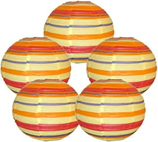 Just Artifacts 16-Inch Color Strips Chinese Japanese Paper Lanterns (Set of 5)