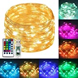 USB Operated String Fairy Lights Remote RGB RGBWW Colors 39FT/12M 120 Led Bulbs Seansonal Light Copper Wire Lamps Indoor/Outdoor Décor for Christmas Wedding New Year Birthday Party (39FT USB Powered)
