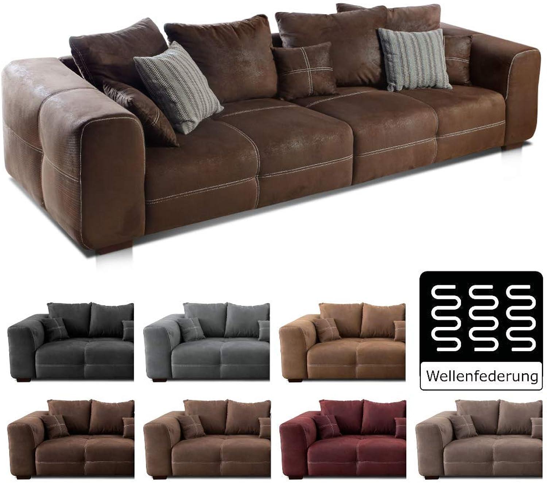 Cavadore Big Sofa Mavericco   Groe Polster Couch mit Mikrofaser-Bezug in antiker Lederoptik   Inklusive Rückenkissen und Zierkissen in braun   Mae  287 x 69 x 108 cm (BxHxT)   Farbe  Antik Braun