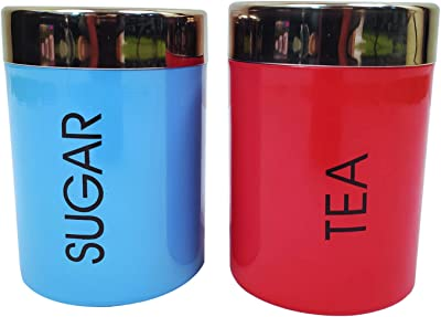 Whopper 2 Pcs Kitchen Canister Decorations with Airtight Lids, Stainless Steel Canister for Sugar Coffee Tea Storage with 2 Spoon