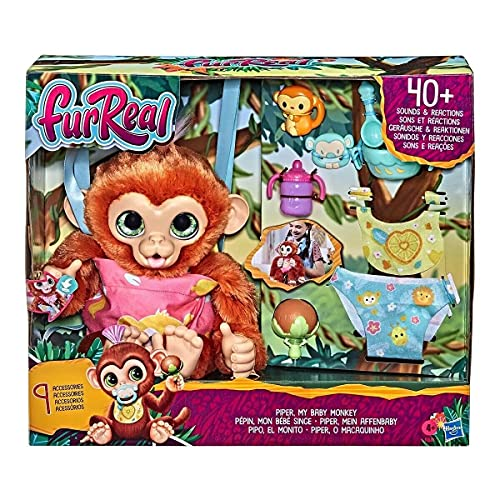 furReal Piper, My Baby Monkey Interactive Animatronic Toy, 40+ Sounds and Reactions, for Kids Ages 4 and up