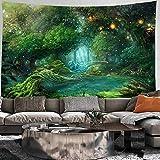 Tapiz de bosque psicodélico Mandala montaje en pared Boho Hippie brujería tapiz de fondo manta de tela colgante A7 73x95cm