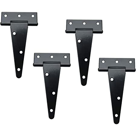 12Pcs Tee Hinges Black Decorative Strap T Hinge Door Gate Shed