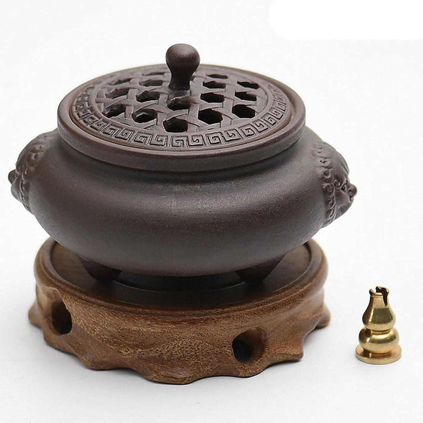 水平潮(ラシューバー) Lasuiveur 香炉 線香立て 香立て 職人さんの手作り 茶道用品 おしゃれ  木製 透かし彫り