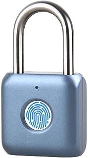 ATITI 南京錠 指紋認証 タッチロック 指紋ロック 快速認証 20枚指紋登録可能 小型 USB充電式 盗難防止 防水 防犯用 青