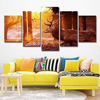 Hd Impreso Forest Deer Pintura sobre lienzo Decoración de la habitación Imprimir Poster Picture Canvas 5p2179 sinmarco 14X21-2P14X28-2P 14X35-1Ppulgadas